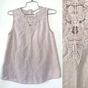Alice Blue dusty rose lace embroidered tank top